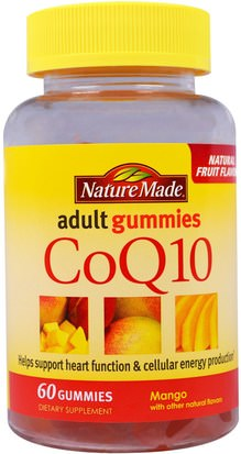 Suplementos, Gomitas, Energía Nature Made, CoQ10 Adult Gummies, Mango, 60 Gummies