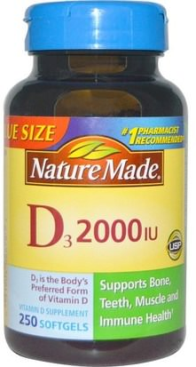Vitaminas, Vitamina D3 Nature Made, D3, 2000 IU, 250 Softgels