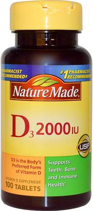 Vitaminas, Vitamina D3 Nature Made, D3, Vitamin D Supplement, 2000 IU, 100 Tablets