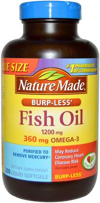 Suplementos, Efa Omega 3 6 9 (Epa Dha), Aceite De Pescado, Cápsulas Blandas De Aceite De Pescado Nature Made, Fish Oil, Burp-Less, 1200 mg, 200 Liquid Softgels