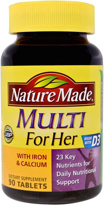 Vitaminas, Mujeres Multivitaminas Nature Made, Multi for Her With Iron & Calcium, 90 Tablets