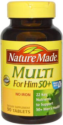 Vitaminas, Multivitaminas - Personas Mayores, Hombres Multivitaminas Nature Made, Multi For Him 50+, No Iron, 90 Tablets