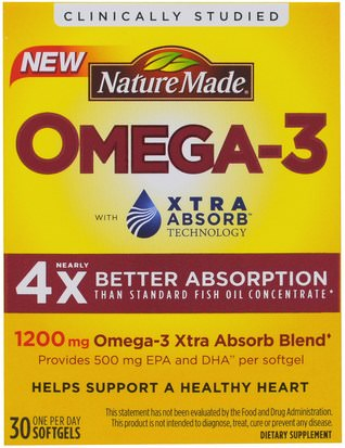 Suplementos, Coenzima Q10, Coq10 Nature Made, Omega-3, Extra Absorb, 1200 mg, 30 Softgels
