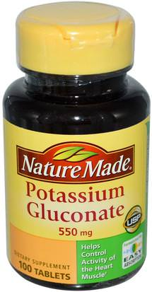 Suplementos, Minerales, Gluconato De Potasio Nature Made, Potassium Gluconate, 550 mg, 100 Tablets