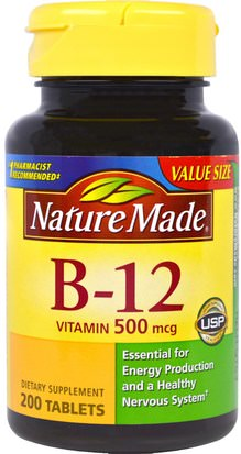 Vitaminas, Vitamina B, Vitamina B12 Nature Made, Vitamin B-12, 200 Tablets