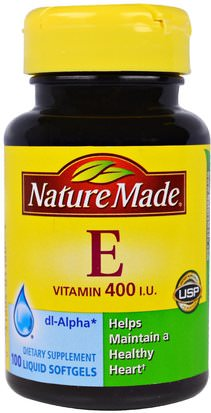 Vitaminas, Vitamina E Nature Made, Vitamin E, 400 IU, 100 Liquid Softgels