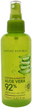 Baño, Belleza, Gel De Crema De Loción De Aloe Vera Nature Republic, Aloe Vera Soothing Gel Mist, 5.07 fl oz (150 ml)