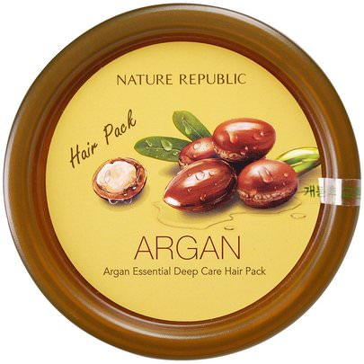 Baño, Belleza, Cabello, Cuero Cabelludo Nature Republic, Argan Essential Deep Care Hair Pack, 200 ml