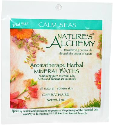 Baño, Belleza, Sales De Baño Natures Alchemy, Aromatheraphy Herbal Mineral Baths, Calm Seas, Trial Size, 1 oz