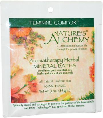 Baño, Belleza, Sales De Baño Natures Alchemy, Aromatherapy Herbal Mineral Baths Feminine Comfort, 3 oz (85 g)
