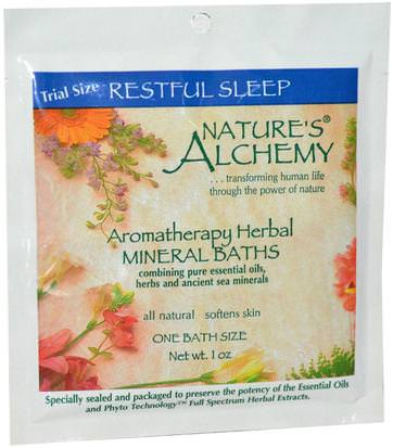 Baño, Belleza, Sales De Baño Natures Alchemy, Aromatherapy Herbal Mineral Baths, Restful Sleep, Trial Size, 1 oz
