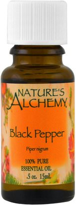 Baño, Belleza, Aceites Esenciales De Aromaterapia Natures Alchemy, Black Pepper, Essential Oil.5 oz (15 ml)