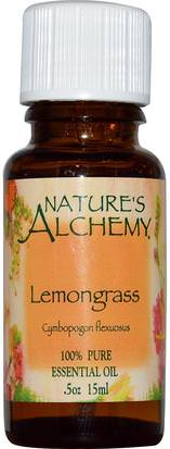 Baño, Belleza, Aceites Esenciales De Aromaterapia, Aceite De Limoncillo Natures Alchemy, Lemongrass, Essential Oil, 0.5 oz (15 ml)