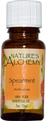 Baño, Belleza, Aceites Esenciales De Aromaterapia, Aceite De Menta Natures Alchemy, Spearmint, Essential Oil.5 oz (15 ml)