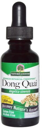 Salud, Menopausia, Dong Quai Natures Answer, Dong Quai, Alcohol Free, 1,000 mg, 1 fl oz (30 ml)