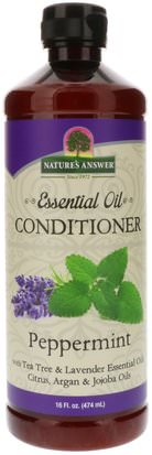 Baño, Belleza, Cabello, Cuero Cabelludo Natures Answer, Essential Oil, Conditioner, Peppermint, 16 fl oz (474 ml)