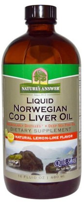 Suplementos, Efa Omega 3 6 9 (Epa Dha), Aceite De Pescado, Aceite De Pescado Líquido Natures Answer, Liquid Norwegian Cod Liver Oil, Natural Lemon-Lime Flavor, 16 fl oz (480 ml)