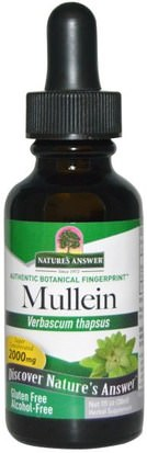 Salud, Pulmón Y Bronquial, Gordolobo Natures Answer, Mullein, Alcohol-Free, 2000 mg, 1 fl oz (30 ml)