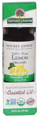 Baño, Belleza, Aceites Esenciales De Aromaterapia, Aceite De Limón Natures Answer, Organic Essential Oil, 100% Pure Lemon, 0.5 fl oz (15 ml)