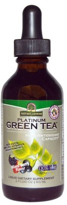 Suplementos, Antioxidantes, Té Verde Natures Answer, Platinum Green Tea, High Antioxidant, Mixed Berry Flavor, 2 fl oz (60 ml)