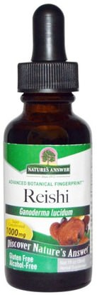 Suplementos, Hongos Medicinales, Hongos Reishi, Adaptógeno Natures Answer, Reishi, Alcohol-Free, 1000 mg, 1 fl oz (30 ml)