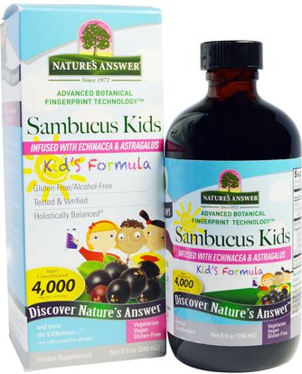Salud Para Niños, Remedios Herbales Para Niños Natures Answer, Sambucus Kids Formula, 4,000 mg, 8 fl oz (240 ml))