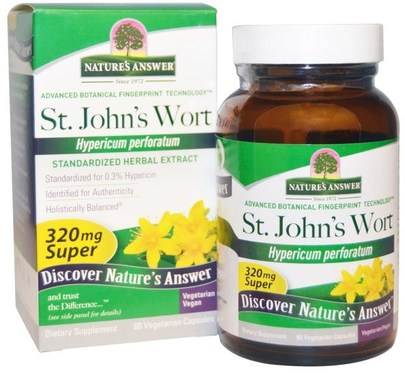 Hierbas, St. Johns Wort Natures Answer, Super St. Johns Wort, Standardized Herb Extract, 320 mg, 60 Vegetarian Capsules