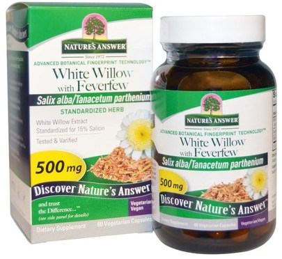 Salud, Dolor De Cabeza Natures Answer, White Willow with Feverfew, 500 mg, 60 Vegetarian Capsules