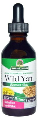 Salud, Mujeres, Ñame Salvaje Natures Answer, Wild Yam, Low Alcohol, 2000 mg, 2 fl oz (60 ml)