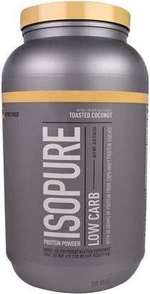 Suplementos, Proteína, Proteína Deportiva Natures Best, IsoPure, Protein Powder, Low Carb, Toasted Coconut, 3 lb (1361 g)