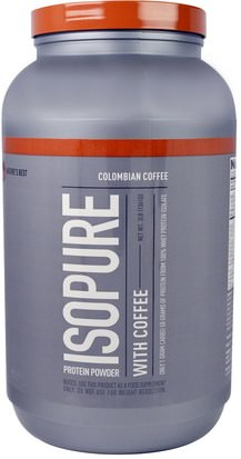 Suplementos, Proteína, Proteína Deportiva Natures Best, IsoPure, Protein Powder with Coffee, Colombian Coffee, 3 lb (1361 g)