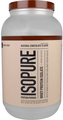 Suplementos, Proteína, Proteína Deportiva Natures Best, IsoPure, Whey Protein Isolate, Natural Chocolate Flavor, 3 lb (1361 g)