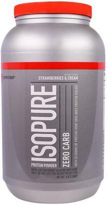 Suplementos, Proteína De Suero De Leche Natures Best, IsoPure, Protein Powder, Zero Carb, Strawberries & Cream, 3 lb (1.36 kg)