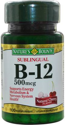 Vitaminas, Vitamina B, Vitamina B12, Vitamina B12 - Cianocobalamina Natures Bounty, B-12, Sublingual, Natural Cherry Flavor, 500 mcg, 100 Microlozenges