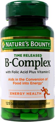 Vitaminas, Complejo De Vitamina B Natures Bounty, B-Complex, Time Released, 125 Coated Tablets