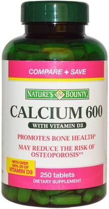Suplementos, Minerales, Calcio Vitamina D Natures Bounty, Calcium with Vitamin D3, 600 mg, 250 Tablets