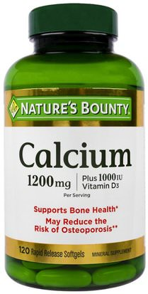 Suplementos, Minerales, Calcio Vitamina D Natures Bounty, Calcium Plus Vitamin D3, 1200 mg/1000 IU, 120 Rapid Release Softgels