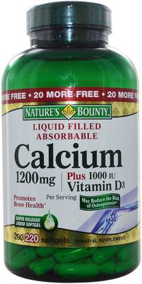 Suplementos, Minerales, Calcio Vitamina D Natures Bounty, Calcium Plus Vitamin D3, 1200 mg/1000 IU, 220 Rapid Release Softgels