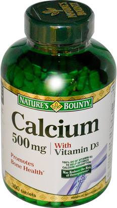 Suplementos, Minerales, Calcio Vitamina D Natures Bounty, Calcium with Vitamin D3, 500 mg, 300 Tablets