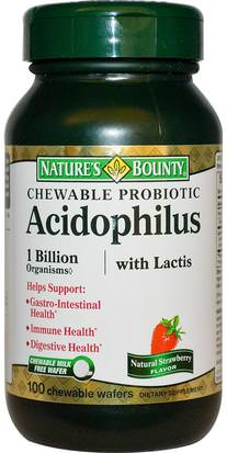 Suplementos, Probióticos, Probióticos Estabilizados Natures Bounty, Chewable Probiotic Acidophilus with Lactis, Natural Strawberry Flavor, 100 Chewable Wafers