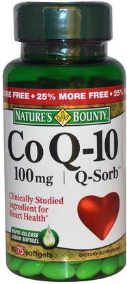 Suplementos, Coenzima Q10, Coq10 Natures Bounty, Co Q-10, Q-Sorb, 100 mg, 75 Softgels
