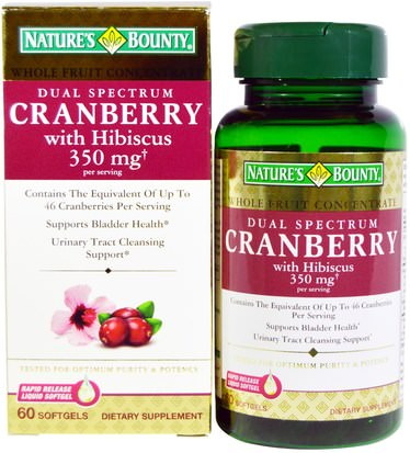 Hierbas, Arándano Natures Bounty, Cranberry, with Hibiscus, Dual Spectrum, 60 Softgels