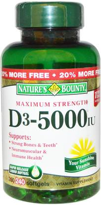 Vitaminas, Vitamina D3 Natures Bounty, D3, Maximum Strength, 5000 IU, 240 Rapid Release Softgels