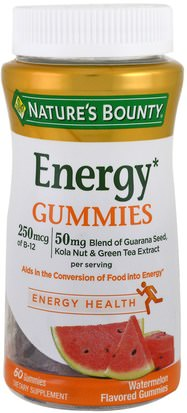 Productos Sensibles Al Calor, Suplementos, Gomitas Natures Bounty, Energy Gummies, Watermelon Flavored, 60 Gummies