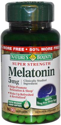 Suplementos, Melatonina 5 Mg Natures Bounty, Melatonin, 5 mg, 90 Rapid Release Softgels
