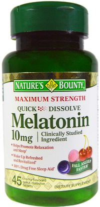 Suplementos, Melatonina Natures Bounty, Melatonin, Quick Dissolve, Natural Cherry Flavor, 10 mg, 45 Quick Dissolve Tablets