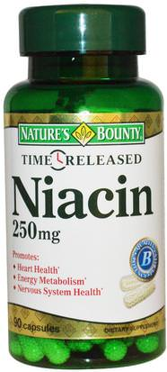 Vitaminas, Vitamina B, Vitamina B3, Vitamina B3 - Niacina Natures Bounty, Niacin, Time Released, 250 mg, 90 Capsules