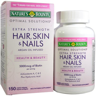 Baño, Belleza, Adelgazamiento Y Recrecimiento Del Cabello, Mujeres, Suplementos Para El Cabello, Suplementos Para Uñas, Suplementos Para La Piel Natures Bounty, Optimal Solutions, Hair, Skin & Nails, Extra Strength, 150 Rapid Release Liquid Softgels