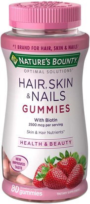 Baño, Belleza, Adelgazamiento Y Recrecimiento Del Cabello, Productos Sensibles Al Calor Natures Bounty, Optimal Solutions, Hair, Skin & Nails Gummies, Strawberry Flavored, 80 Gummies