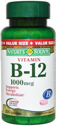 Vitaminas, Vitamina B, Vitamina B12, Vitamina B12 - Cianocobalamina Natures Bounty, Vitamin B-12, 1000 mcg, 200 Coated Tablets
